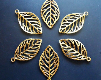 """Large Gold Plated Filigree Leaf Pendants - 1 7/8"""" Tall x 1"""" Wide"""