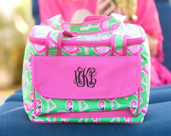 Monogrammed Flamingo Large Lunch Bag
