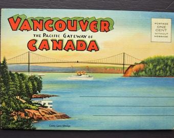 Vancouver the Pacific Gateway of Canada Vintage Souvenir Foldout Folder Postcards