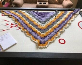 purple/gold crocheted shawl