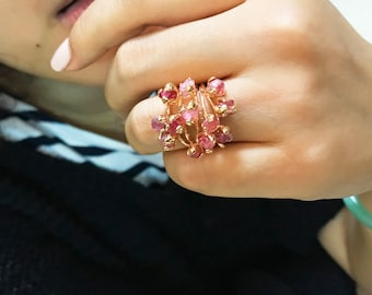 pink spinel MULTI CRYSTAL ring/ one of a kind
