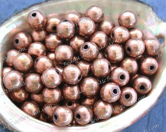 Copper Beads, 100 ~ 8mm Round Copper Beads, Handcrafted Hollow Copper Beads, Large Hole Beads, Macramé Beads MB-089