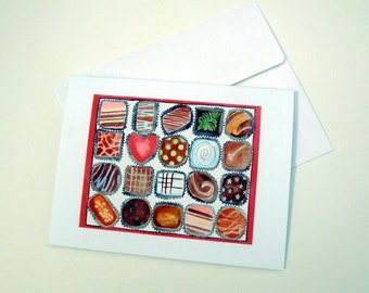 Note Card Set - Chocolate Cards, Box of Chocolates Watercolor Art Notecards, Set of 4