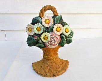Vintage Cast Iron Door Stop   Flower Basket Doorstop   Iron Door Stopper   Hand Painted Flower Bouquet