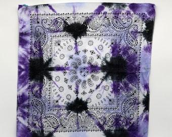 Tie Dye Bandana, Trippy Purple handkerchief, Hippie Fashion