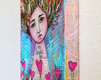Thankful Girl Original Mixed Media Art Original Acrylic Painting On 8 x 10 Canvas By Charlotte Littlejohn