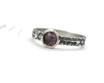 SALE . purple sapphire engagement ring . alternative engagement ring . recycled silver tudor rose engagement ring . ready to ship size 5 6 7