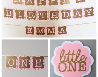 1st Birthday Party Package, Pink and Gold First Birthday Banner. Happy First Birthday, Pink and Gold ONE High Chair Banner.