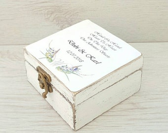 Personalized wedding ring box, Rustic ring bearer box, Custom ring box, Wedding ring box, Rustic wedding box, Wooden ring box, Ring holder