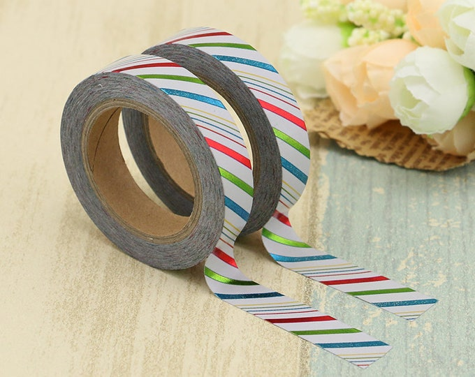 Skinny foil striped Washi Tape -  Washi Tape -  washi Tape - Paper Tape - Planner Washi Tape - Decorative Tape -  foiled skinny stripe washi