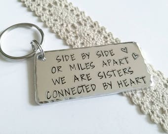 Sister gift personalised keychain hand stamped keyring Gift for sister gift Birthday gift idea,  gift, Valentines