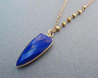 Lapis Lazuli Arrowhead Necklace /Natural Lapis Arrow /Lapis Gold Pyrite Necklace / Dark Blue Stone Necklace/Lapis Lazuli Gold Pyrite//BE54