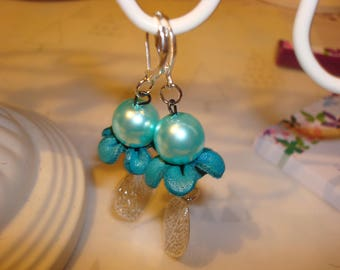 Earrings glass beads and leather