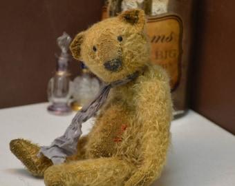 SOLD.Artist Teddy Bear OOAK antique teddy bear vintage toy Plush Sawdust Soft sculpture Teddy Bear Сollectible teddy bears