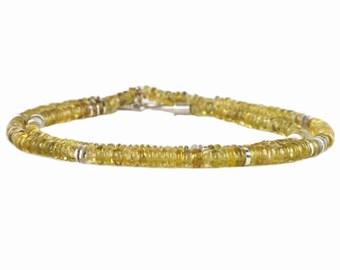 leuchtend gelbgrüne Turmalinkette mit Silber und Gold