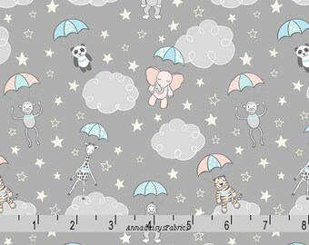 Gray Baby Animal Fabric, Lewis & Irene Fabric, Welcome To The World A215 3, Parachuting Baby Animals, Giraffe, Panda, Quilt Fabric, Cotton