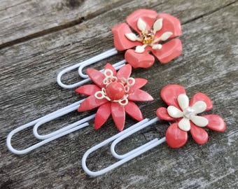 Coral Planner Clips Metal Flower Planner Clips Enamel Flower Paper Clips Bookmarks Coral and Ivory Flower Bookmark Journal Clip Set PCL5