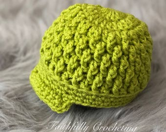 Newborn boy brim hat.. lime green beanie.. photography prop.. ready to ship