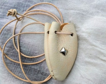 Leather Medicine Bag, Crystal, Keepsakes, Talisman Pouch or Hippie Necklace in Natural Deerskin