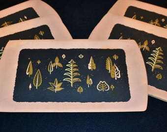 Vintage Trays Mid Century Pink Atomic with Black.........12 Pieces