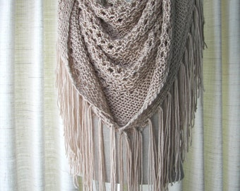 CAPPUCCINO Hand Knit Shawl Triangle Scarf Fringes in Anti Pill Acrylic / Beige, Eggplant, Black, White Cream knit Wrap / Bridal shawl