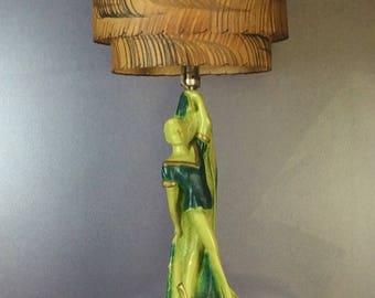 Perfect Vintage 1950s Green Ballerina Lamp With Original Fiberglass Lampshade