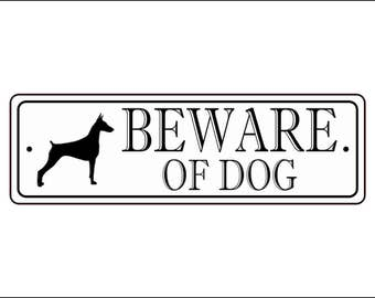 "Beware Of Dog Sign - 2.5"" x 8"", Doberman silhouette,  - FREE SHIPPING"