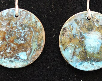 Textured Copper Earrings with Blue Patina (033018-027)
