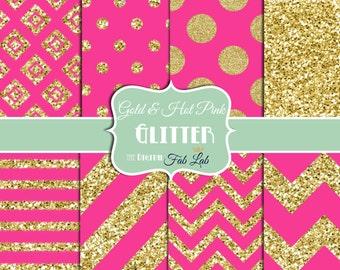 Gold and Hot Pink, Glitter Paper, Sparkling, Chevron, Stripes, Polka Dots, Digital Paper, 12x12, Scrapbook