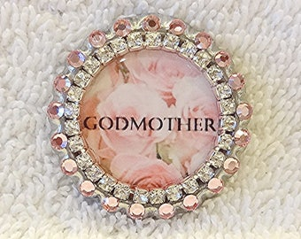 GODMOTHER Pin, Swarovski Pink Rhinestones Baptism Purse Pin, Gift for a Godmother, Baby Baptism Gift