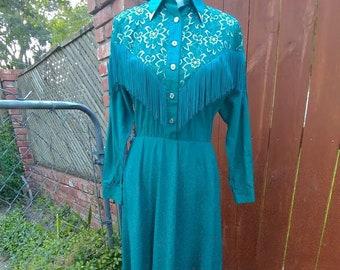 Western dress / Disco dress / vintage clothing / rodeo queen / disco queen / hipster / hipster dress / dress