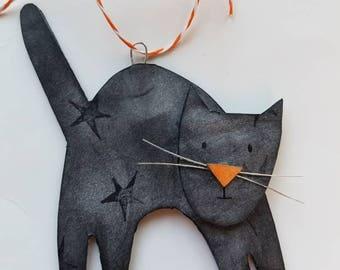 halloween...ornament...black cat 1