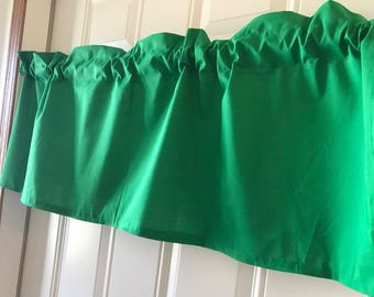 Solid kelly Green Spring Green Curtain Valance