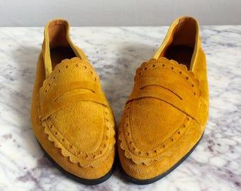 Mustard Suede Vintage Loafers