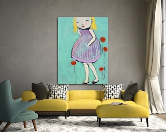 Tall Poppy painting One of a Kind , unique item .Painting,original art, poppy