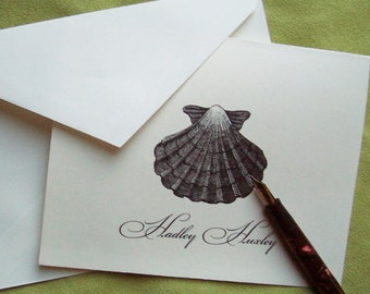 Sea Shell Personalized Note Cards, Monogrammed Ivory Nautical NoteCards Ocean Beach Cottage Chic Hostess Gift Stationery Set 10