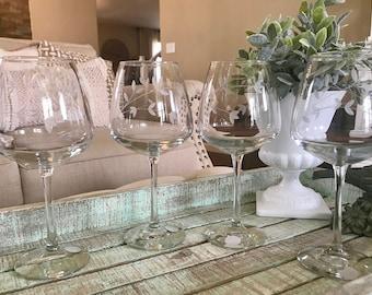 Princess House Crystal Set of Four Red Wine Glasses Princess Moderna Pattern Gray Cut Flowers and Vines Original Sticker Wedding TYCAALAK