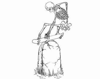 Skateboard Skeleton Art Print