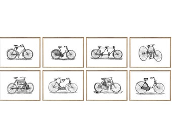 Bicycle Art Print SET of 8. black and white bike, minimalist bike art, bicycle wall art, bicycle wall decor, bicycle illustration, boys room