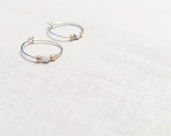 Mini Hoops - Sterling Silver Round Hoop Earrings with Mixed Metal Beaded Accents - Stardust and Gold Fill Faceted Beads Modern Gift for Her