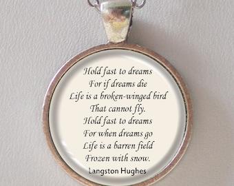 Custom Poem Pendant Necklace- Langston Hughes, Dream