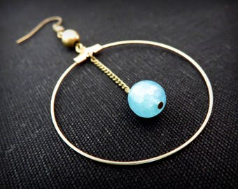 Blue faceted bead and brass hoop earrings