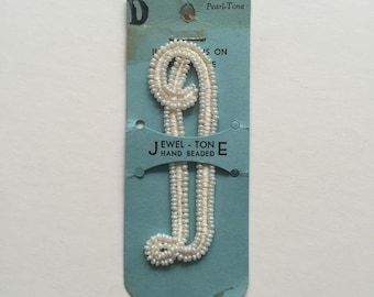"Deadstock Vintage 50's Beaded Pearl Tone Monogram Cursive Letter ""D"""