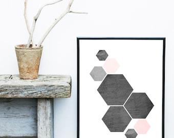 Hexagon Print, Geometric Art, Scandinavian Print, Geometric Wall Art, Abstract Art Print, Pink and Grey, Wall Decor, Giclee print, Wall Art