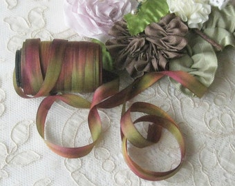 Hand Dyed Silk Ribbon (7mm) 1/4 inch - 5 yards - Ribbonwork, Embroidery, Sewing, Crafts