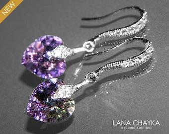 Light Purple Green Heart Crystal Earrings, Swarovski Vitrail Light Silver Small Earrings, Purple Green Crystal Wedding Earrings Prom Jewelry