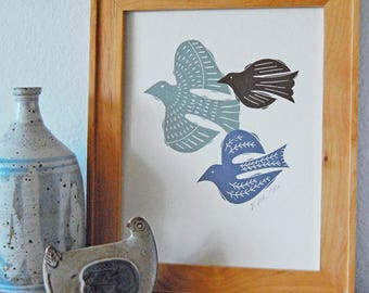 Bird Trio Letterpress Print