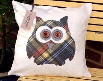 "HALF PRICE! Owl Cushion - Tartan, Pink Polka Dot, Floral, Green Polka Dot,  ""The Owls of Hoot"" Collection, Tamsin Reed Designs"
