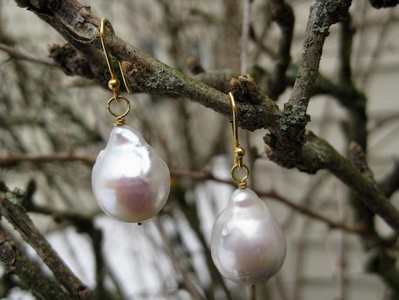 HAVEN  Baroque Pearl Drop Earrings on 18k Gold
