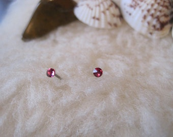 Tiny Niobium Post Earrings - 2 mm Fuchsia Crystals - Hypoallergenic Earrings for Sensitive Ears / Nickel Free Stud Earrings